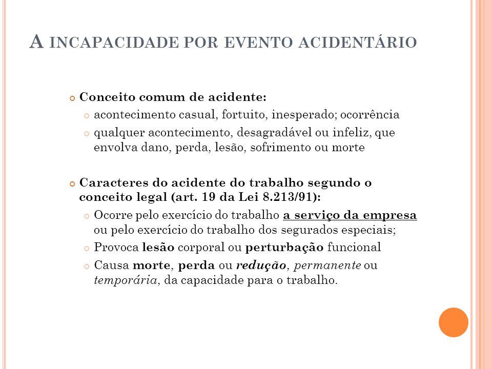 A INCAPACIDADE POR EVENTO ACIDENTÁRIO Conceito comum de acidente: acontecimento casual, fortuito, inesperado; ocorrência qualquer acontecimento, desag