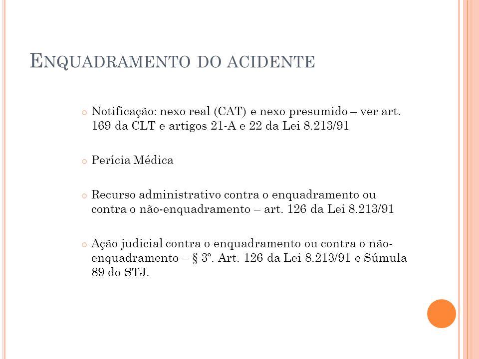 E NQUADRAMENTO DO ACIDENTE Notificação: nexo real (CAT) e nexo presumido – ver art. 169 da CLT e artigos 21-A e 22 da Lei 8.213/91 Perícia Médica Recu
