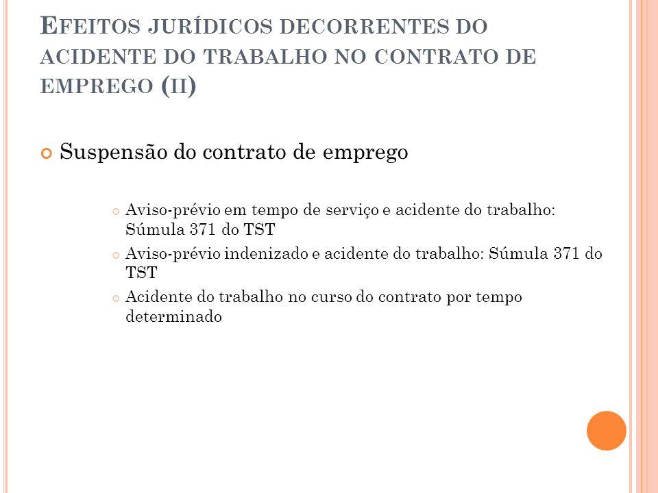 E FEITOS JURÍDICOS DECORRENTES DO ACIDENTE DO TRABALHO NO CONTRATO DE EMPREGO ( II ) Suspensão do contrato de emprego Aviso-prévio em tempo de serviço