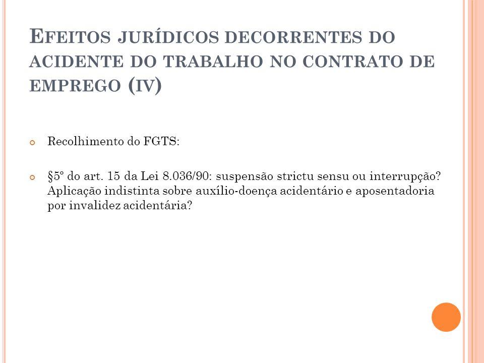 E FEITOS JURÍDICOS DECORRENTES DO ACIDENTE DO TRABALHO NO CONTRATO DE EMPREGO ( IV ) Recolhimento do FGTS: §5º do art. 15 da Lei 8.036/90: suspensão s