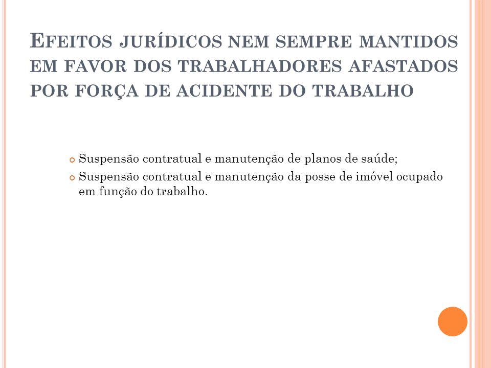 E FEITOS JURÍDICOS NEM SEMPRE MANTIDOS EM FAVOR DOS TRABALHADORES AFASTADOS POR FORÇA DE ACIDENTE DO TRABALHO Suspensão contratual e manutenção de pla