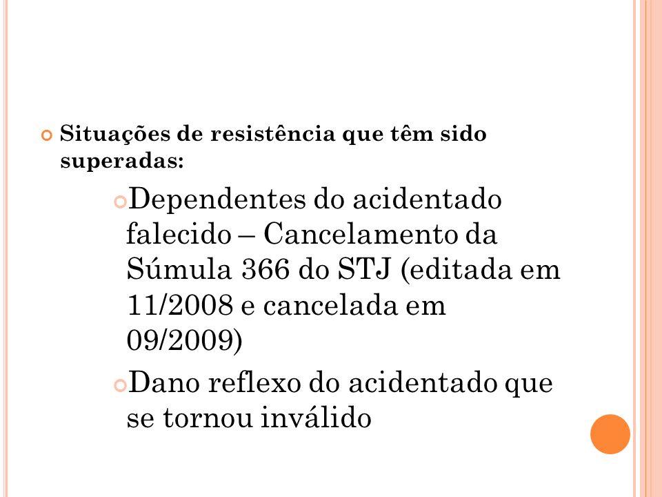 Situações de resistência que têm sido superadas: Dependentes do acidentado falecido – Cancelamento da Súmula 366 do STJ (editada em 11/2008 e cancelad