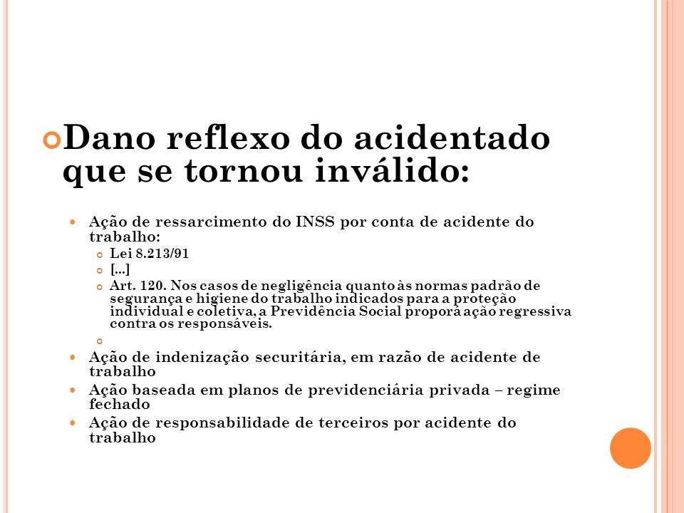 Dano reflexo do acidentado que se tornou inválido: Ação de ressarcimento do INSS por conta de acidente do trabalho: Lei 8.213/91 [...] Art. 120. Nos c