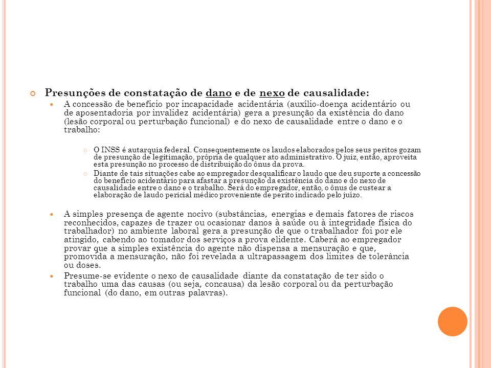 Presunções de constatação de dano e de nexo de causalidade: A concessão de beneficio por incapacidade acidentária (auxílio-doença acidentário ou de ap