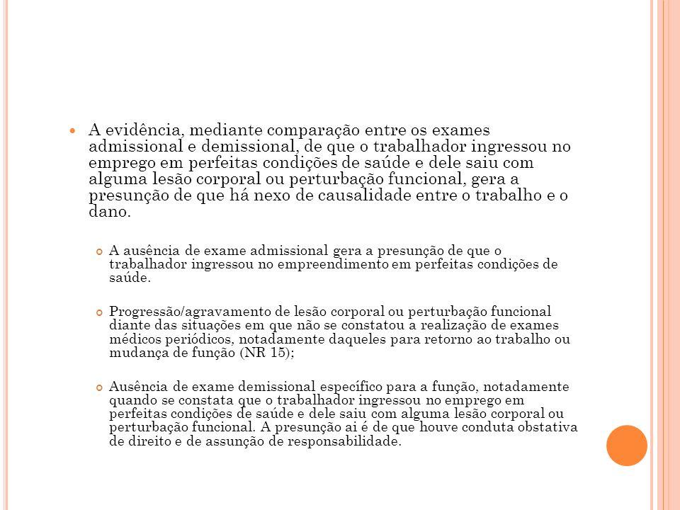 A evidência, mediante comparação entre os exames admissional e demissional, de que o trabalhador ingressou no emprego em perfeitas condições de saúde