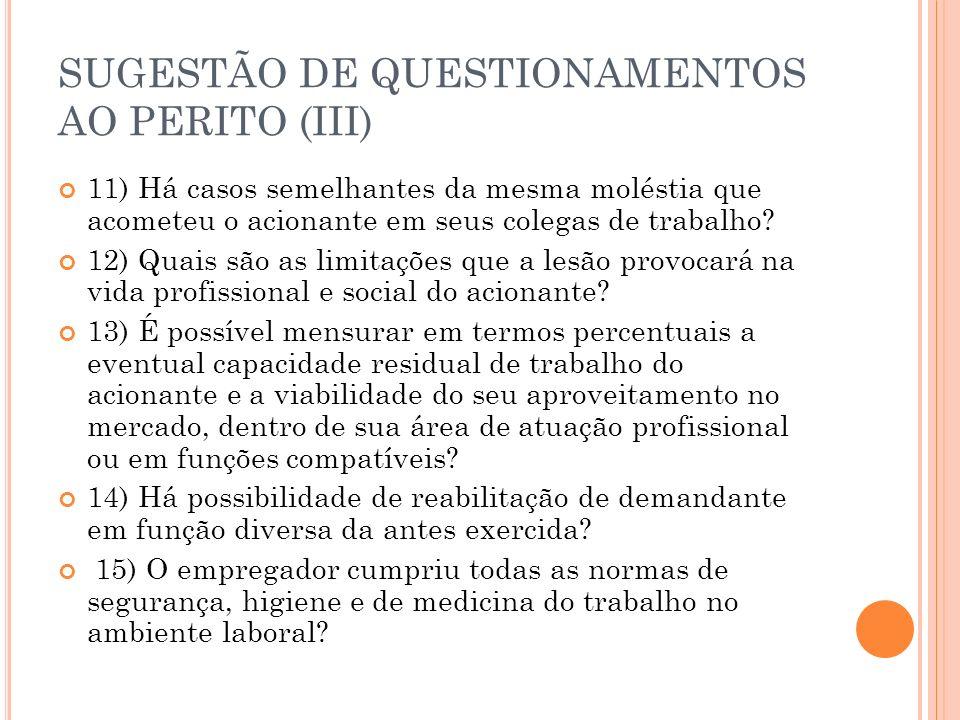 SUGESTÃO DE QUESTIONAMENTOS AO PERITO (III) 11) Há casos semelhantes da mesma moléstia que acometeu o acionante em seus colegas de trabalho? 12) Quais