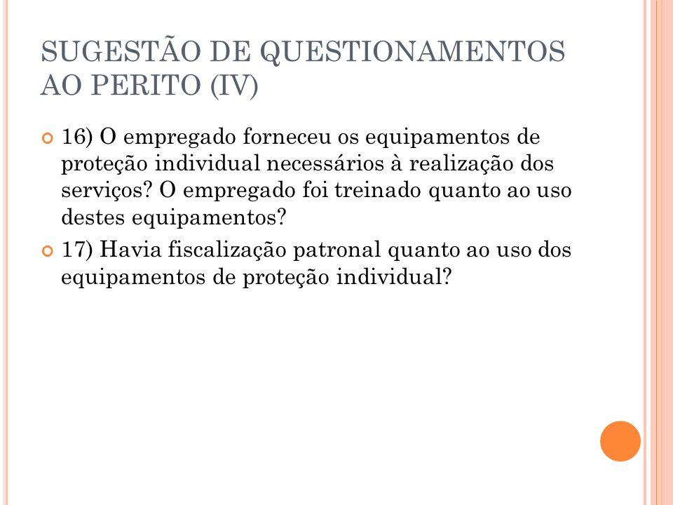 SUGESTÃO DE QUESTIONAMENTOS AO PERITO (IV) 16) O empregado forneceu os equipamentos de proteção individual necessários à realização dos serviços? O em