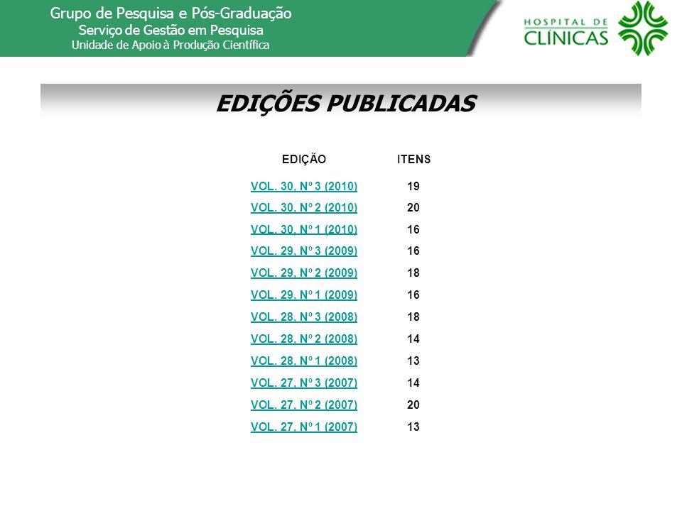 EDIÇÕES PUBLICADAS Grupo de Pesquisa e Pós-Graduação Serviço de Gestão em Pesquisa Unidade de Apoio à Produção Científica EDIÇÃO VOL. 30, Nº 3 (2010)