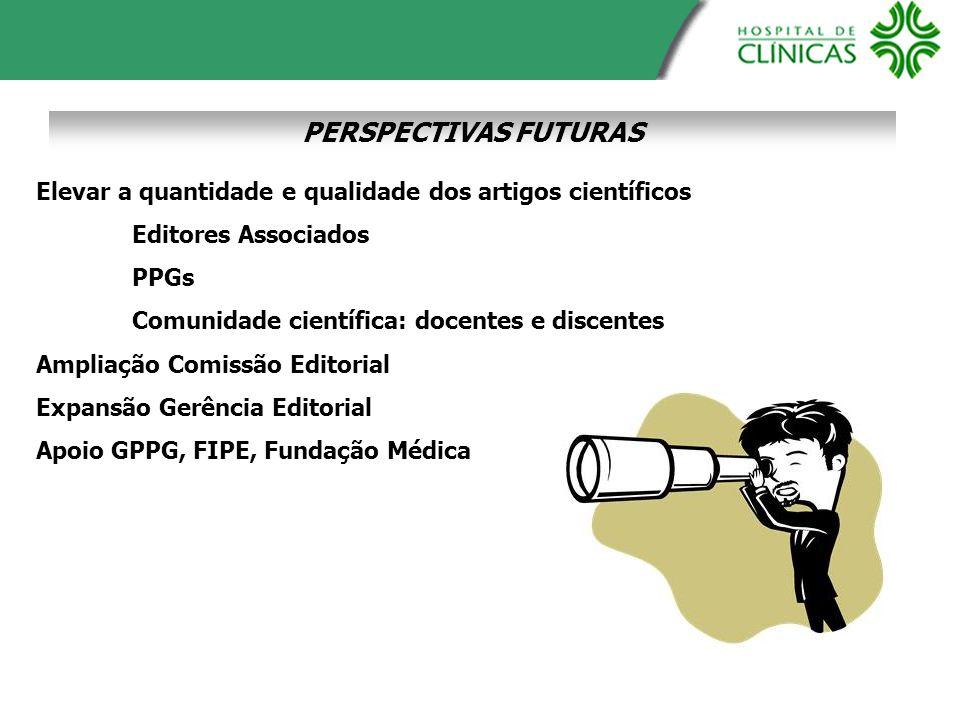 PERSPECTIVAS FUTURAS Elevar a quantidade e qualidade dos artigos científicos Editores Associados PPGs Comunidade científica: docentes e discentes Ampl