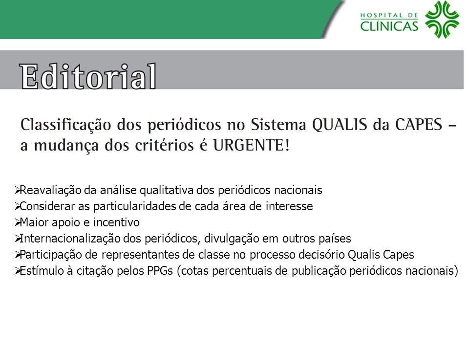 Reavaliação da análise qualitativa dos periódicos nacionais Considerar as particularidades de cada área de interesse Maior apoio e incentivo Internaci