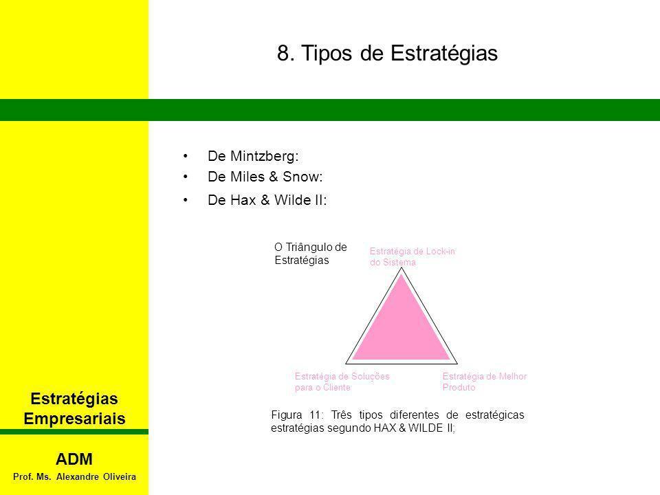 De Mintzberg: De Miles & Snow: De Hax & Wilde II: 8. Tipos de Estratégias O Triângulo de Estratégias Estratégia de Melhor Produto Estratégia de Soluçõ