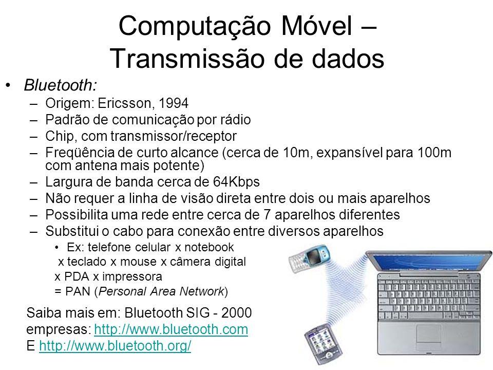 Bluetooth: –Origem: Ericsson, 1994 –Padrão de comunicação por rádio –Chip, com transmissor/receptor –Freqüência de curto alcance (cerca de 10m, expans