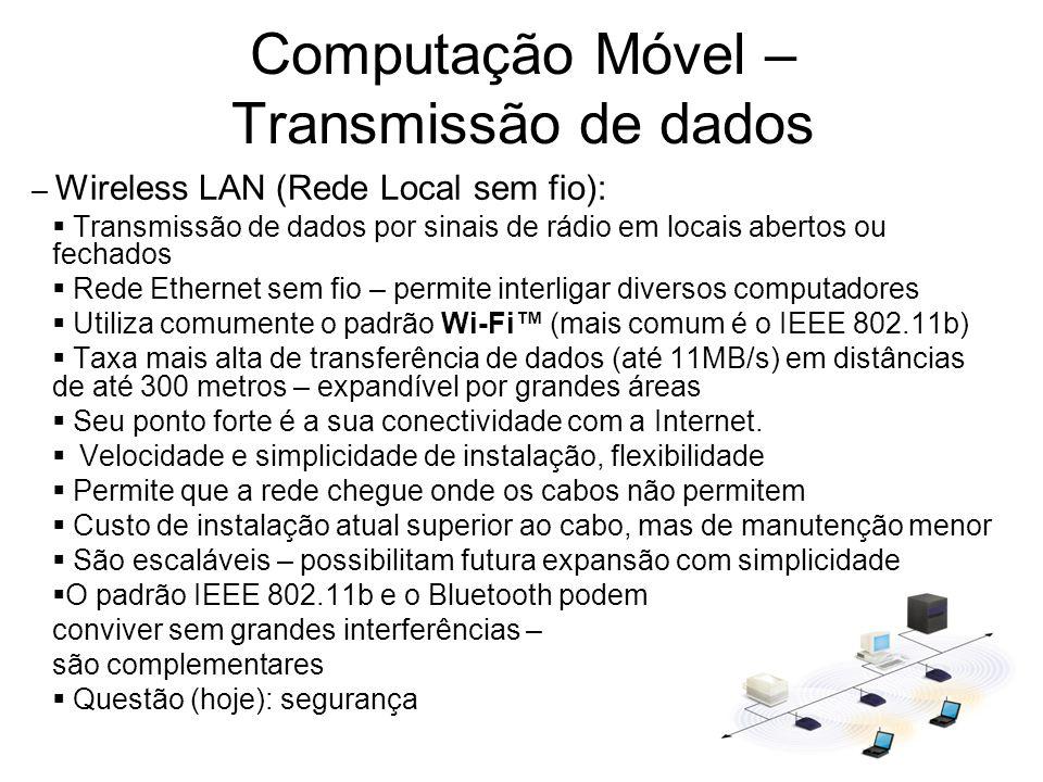 Computação Móvel – Transmissão de dados – Wireless LAN (Rede Local sem fio): Transmissão de dados por sinais de rádio em locais abertos ou fechados Re