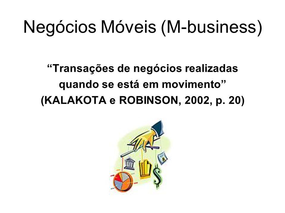Negócios Móveis (M-business) Transações de negócios realizadas quando se está em movimento (KALAKOTA e ROBINSON, 2002, p. 20)