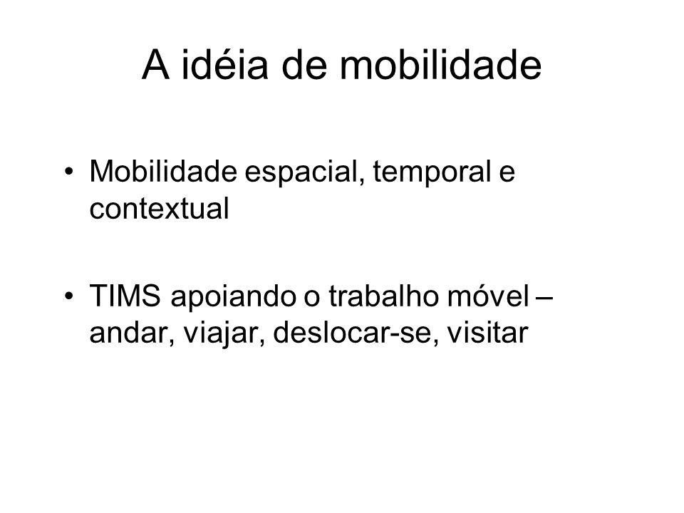 A idéia de mobilidade Mobilidade espacial, temporal e contextual TIMS apoiando o trabalho móvel – andar, viajar, deslocar-se, visitar