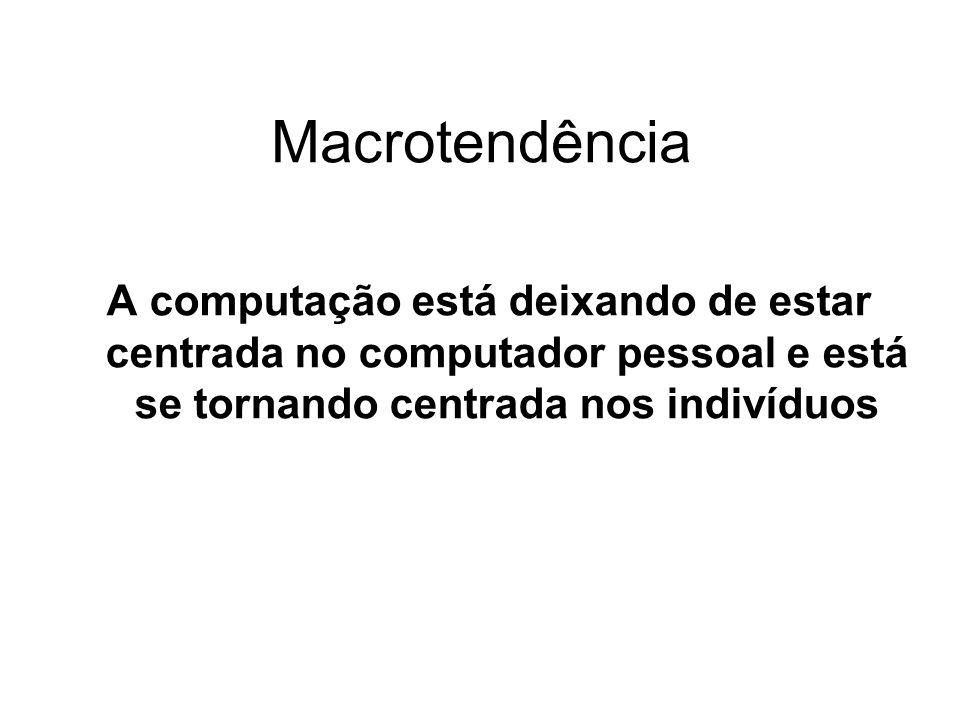 Macrotendência A computação está deixando de estar centrada no computador pessoal e está se tornando centrada nos indivíduos