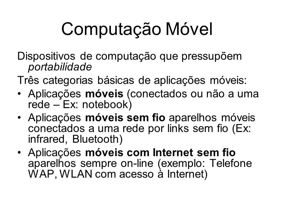 Computação Móvel Dispositivos de computação que pressupõem portabilidade Três categorias básicas de aplicações móveis: Aplicações móveis (conectados o
