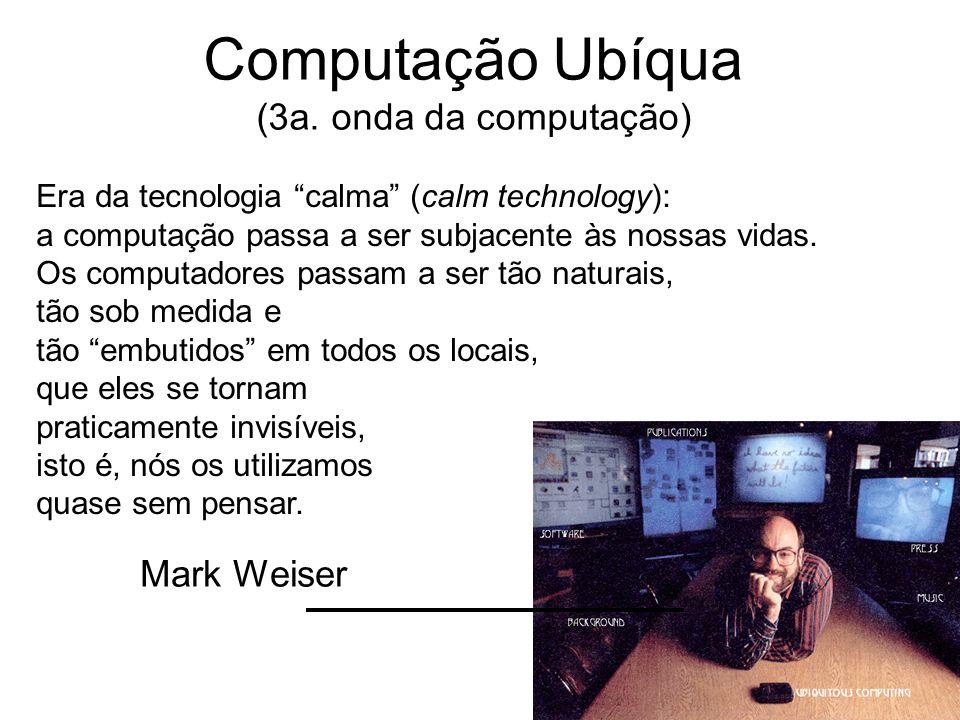 Computação Ubíqua (3a. onda da computação) Era da tecnologia calma (calm technology): a computação passa a ser subjacente às nossas vidas. Os computad