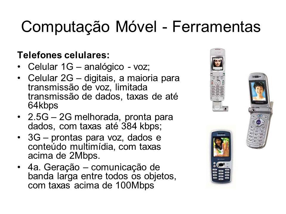Computação Móvel - Ferramentas Telefones celulares: Celular 1G – analógico - voz; Celular 2G – digitais, a maioria para transmissão de voz, limitada t