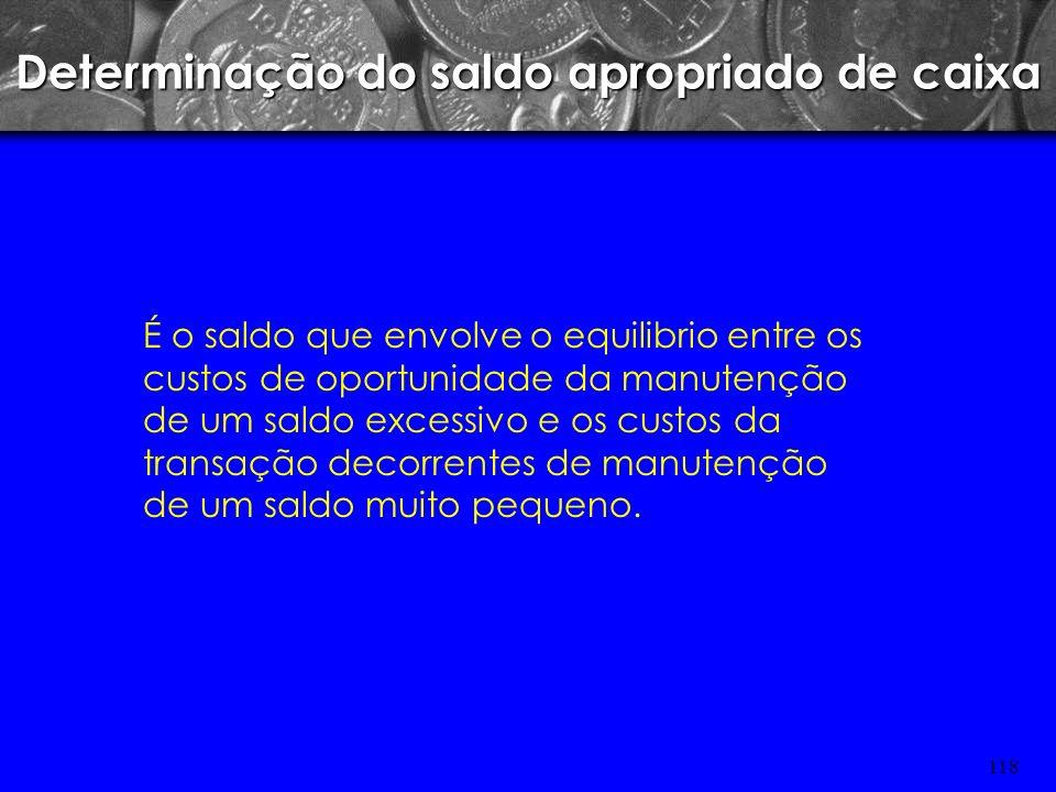 117 MOTIVO ESPECULAÇÃO Manter certo saldo do caixa para aproveitar as oportunidades especulativas