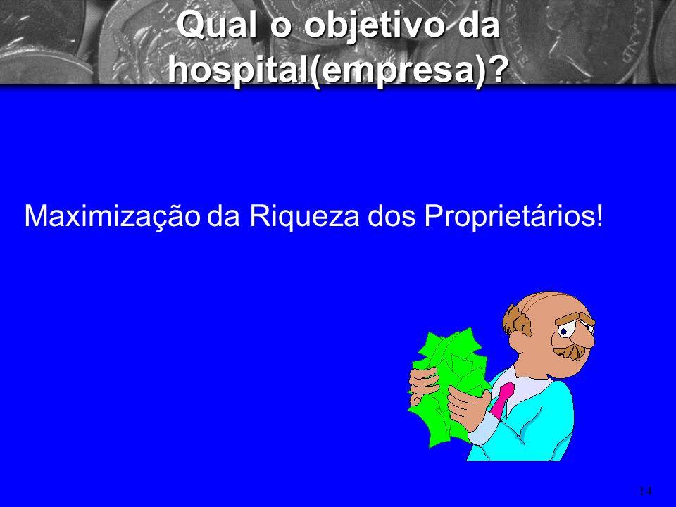13 Qual o objetivo do hospital? Maximização do Lucro/Financeiro? Minimização do Risco?