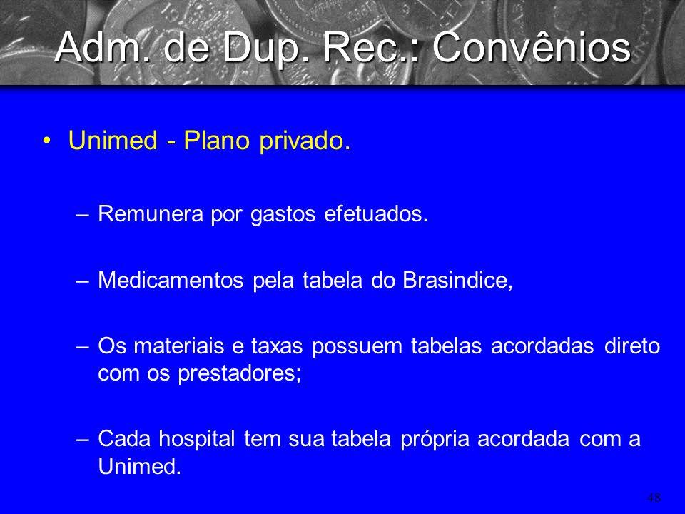 47 Adm. de Dup. Rec.: Convênios IPE => Plano go governo do estado RGS –Funcionarios publicos estaduais, e atualmente esta aberto para funcionários púb
