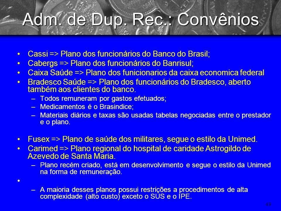 48 Adm. de Dup. Rec.: Convênios Unimed - Plano privado. –Remunera por gastos efetuados. –Medicamentos pela tabela do Brasindice, –Os materiais e taxas