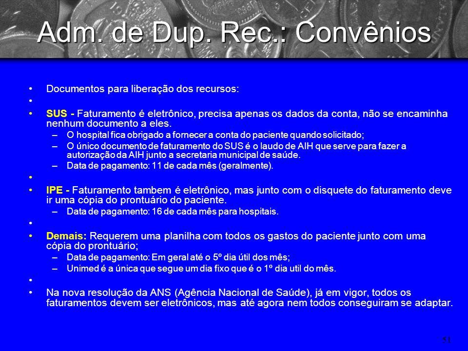 50 Adm. de Dup. Rec.: Convênios Cassi => Plano dos funcionários do Banco do Brasil; Cabergs => Plano dos funcionários do Banrisul; Caixa Saúde => Plan