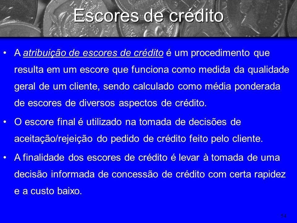 53 Fontes de informação para a avaliação do crédito Internas: histórico do cliente, demonstrações financeiras, conjuntura atual interna (volume de est