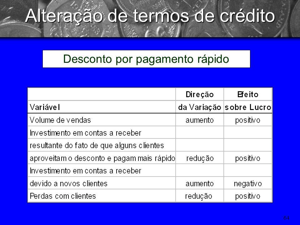 63 Os padrões de crédito de uma cooperativa especificam os prazos de pagamento exigidos de todos os clientes que compram a prazo. Os termos de crédito