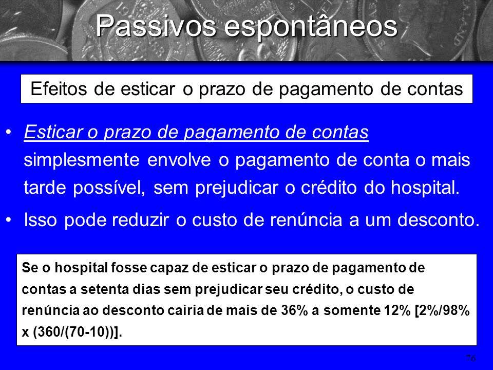 75 Passivos espontâneos Análise de prazos de crédito Os prazos de crédito oferecidos pelos fornecedores permitem que o hospital adie o pagamento de su