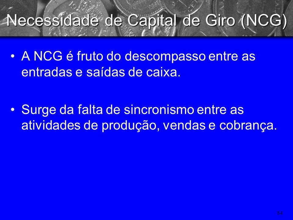 83 Administração do caixa: Necessidade de Capital de Giro