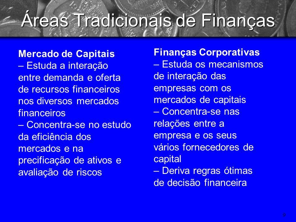 8 O que é FINANÇAS? A arte e a ciência de administrar fundos. –Finanças ocupa-se do processo, das instituições, dos mercados e dos instrumentos envolv