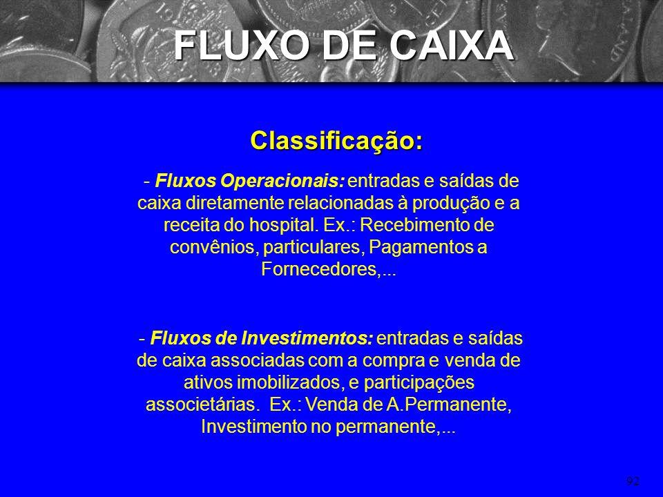 91 FLUXO DE CAIXA Objetivos: Otimizar aplicação de recursos próprios e de terceiros nas atividades mais rentáveis do hospital; Programação dos ingress