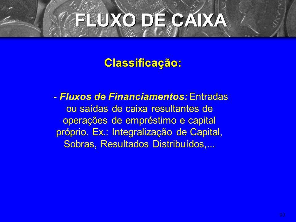 92 FLUXO DE CAIXA Classificação: - Fluxos Operacionais: entradas e saídas de caixa diretamente relacionadas à produção e a receita do hospital. Ex.: R
