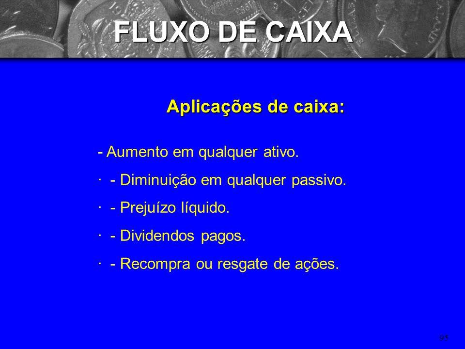 94 FLUXO DE CAIXA Origens de caixa: - Diminuição em qualquer ativo. · - Aumento em qualquer passivo. · - Lucro líquido após imposto de renda. · - Depr