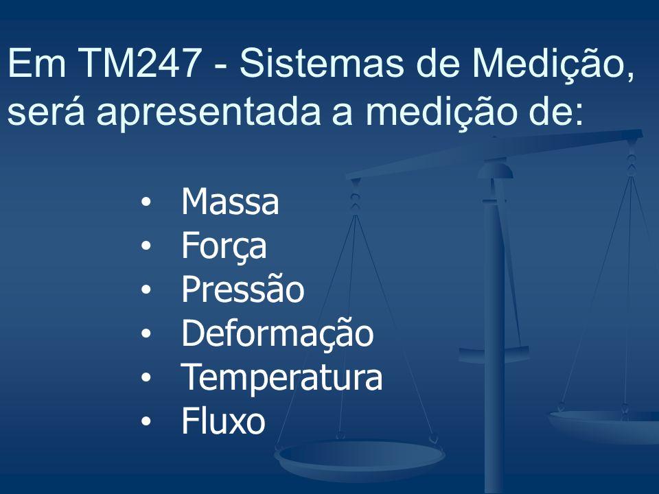 Em TM247 - Sistemas de Medição, será apresentada a medição de: Massa Força Pressão Deformação Temperatura Fluxo