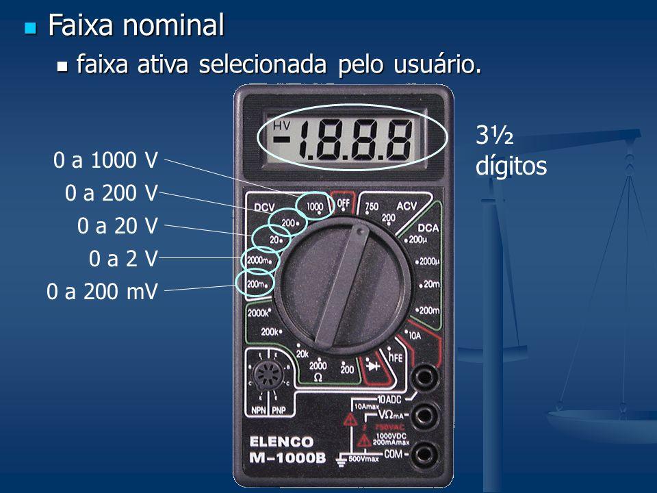 3½ dígitos 0 a 1000 V 0 a 200 V 0 a 20 V 0 a 2 V 0 a 200 mV Faixa nominal Faixa nominal faixa ativa selecionada pelo usuário. faixa ativa selecionada