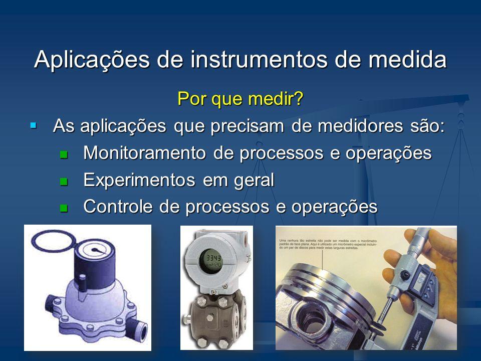 Aplicações de instrumentos de medida Por que medir? As aplicações que precisam de medidores são: As aplicações que precisam de medidores são: Monitora