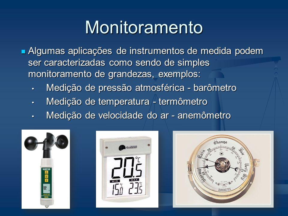 Monitoramento Algumas aplicações de instrumentos de medida podem ser caracterizadas como sendo de simples monitoramento de grandezas, exemplos: Algumas aplicações de instrumentos de medida podem ser caracterizadas como sendo de simples monitoramento de grandezas, exemplos: Medição de pressão atmosférica - barômetro Medição de pressão atmosférica - barômetro Medição de temperatura - termômetro Medição de temperatura - termômetro Medição de velocidade do ar - anemômetro Medição de velocidade do ar - anemômetro
