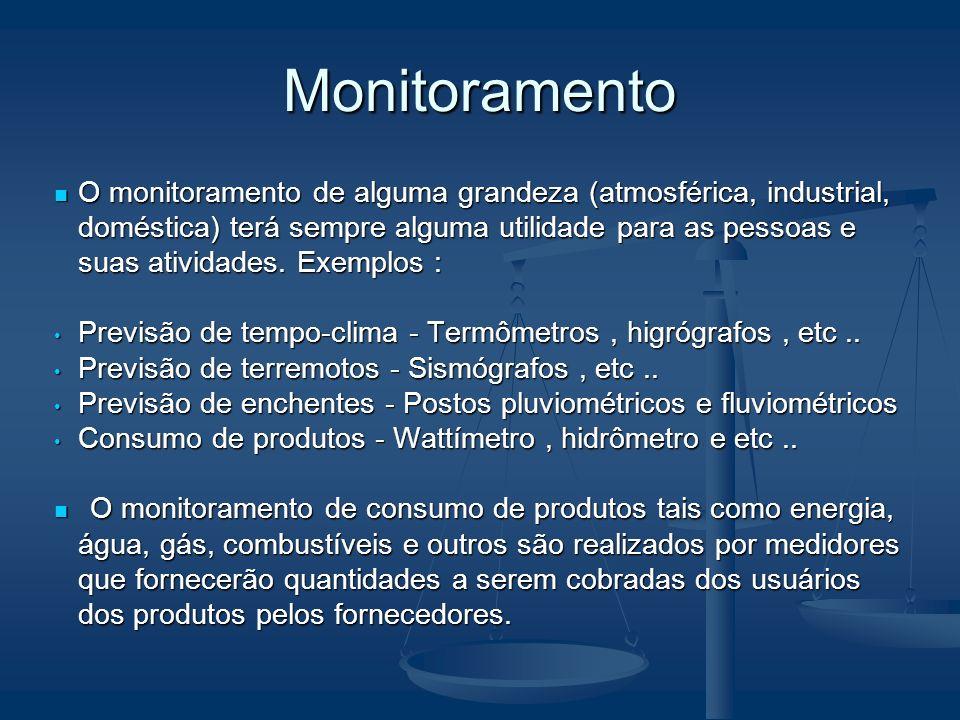 Monitoramento O monitoramento de alguma grandeza (atmosférica, industrial, doméstica) terá sempre alguma utilidade para as pessoas e suas atividades.