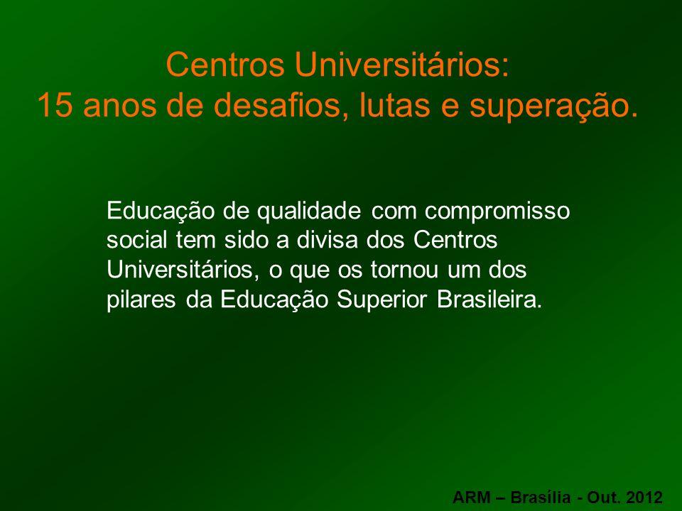 Centros Universitários: 15 anos de desafios, lutas e superação. Educação de qualidade com compromisso social tem sido a divisa dos Centros Universitár