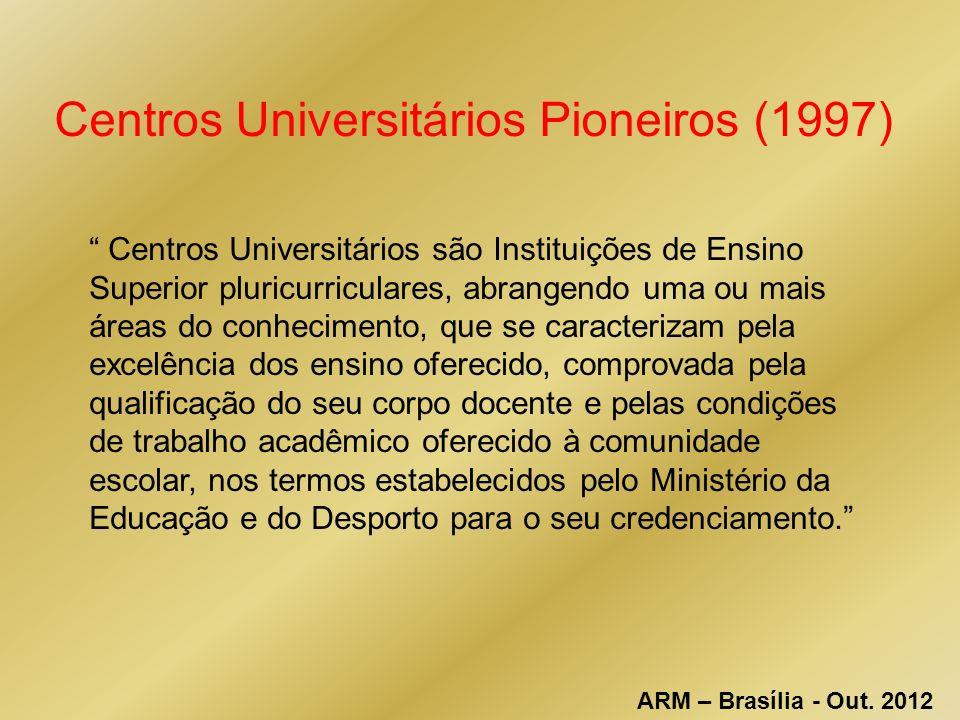 Centros Universitários Pioneiros (1997) Centros Universitários são Instituições de Ensino Superior pluricurriculares, abrangendo uma ou mais áreas do