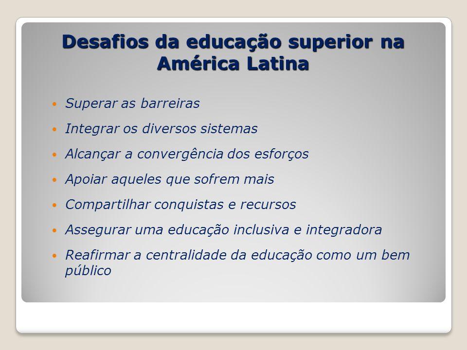 Desafios da educação superior na América Latina Superar as barreiras Integrar os diversos sistemas Alcançar a convergência dos esforços Apoiar aqueles