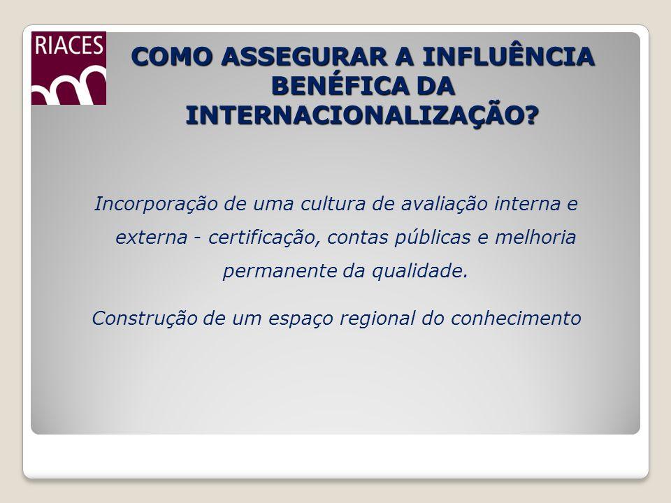 COMO ASSEGURAR A INFLUÊNCIA BENÉFICA DA INTERNACIONALIZAÇÃO? Incorporação de uma cultura de avaliação interna e externa - certificação, contas pública