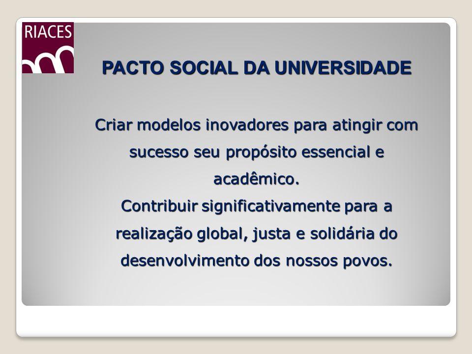 PACTO SOCIAL DA UNIVERSIDADE Criar modelos inovadores para atingir com sucesso seu propósito essencial e acadêmico. Contribuir significativamente para