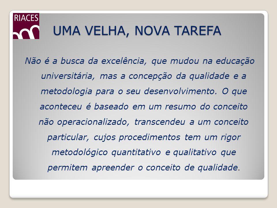 UMA VELHA, NOVA TAREFA Não é a busca da excelência, que mudou na educação universitária, mas a concepção da qualidade e a metodologia para o seu desen