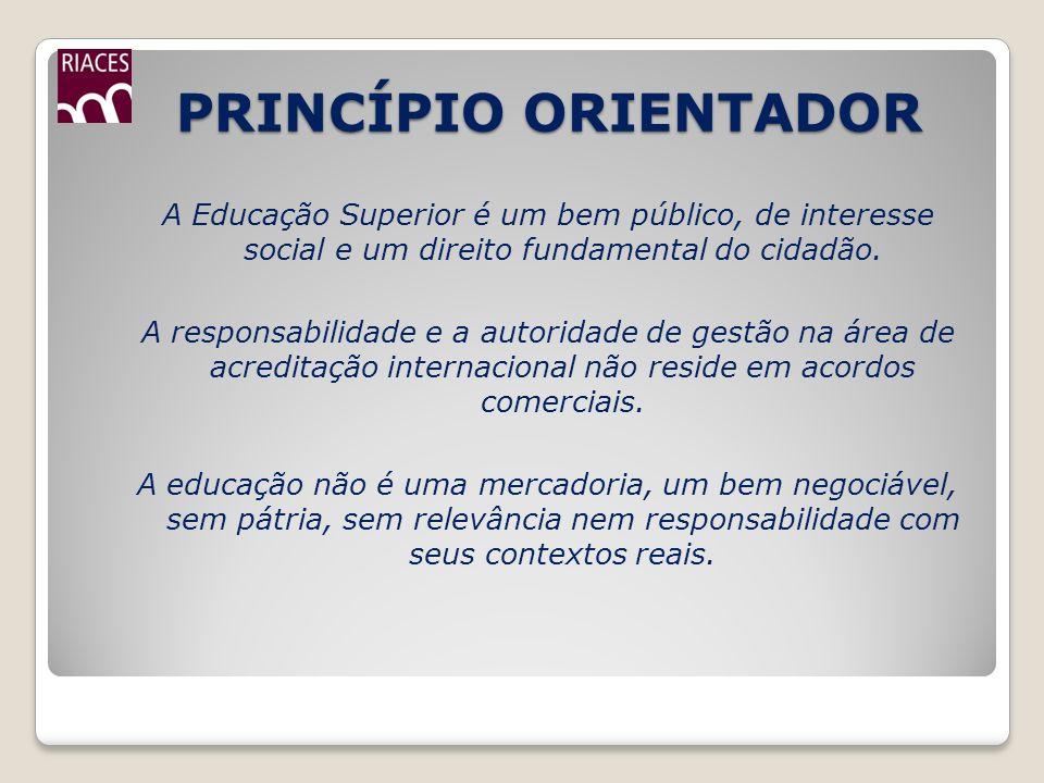 PRINCÍPIO ORIENTADOR PRINCÍPIO ORIENTADOR A Educação Superior é um bem público, de interesse social e um direito fundamental do cidadão. A responsabil