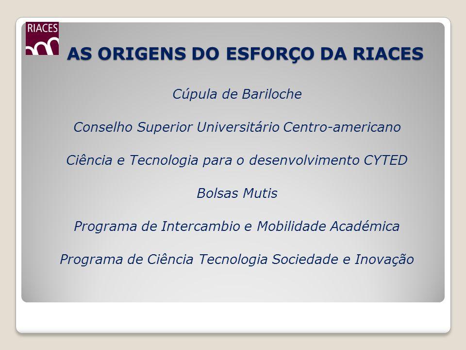 AS ORIGENS DO ESFORÇO DA RIACES AS ORIGENS DO ESFORÇO DA RIACES Cúpula de Bariloche Conselho Superior Universitário Centro-americano Ciência e Tecnolo