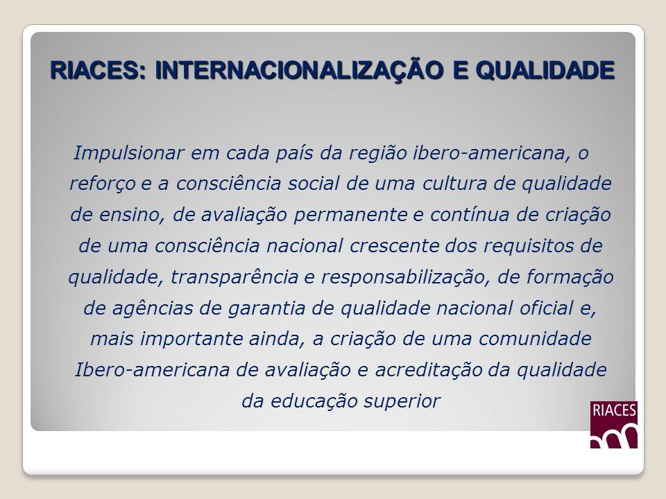 RIACES: INTERNACIONALIZAÇÃO E QUALIDADE Impulsionar em cada país da região ibero-americana, o reforço e a consciência social de uma cultura de qualida